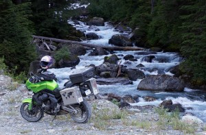 My Versys at an unnamed creek on the way up to the Salmon Glacier