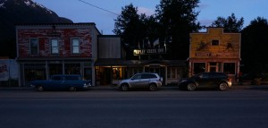 Stewart B.C. main street at sunset, shortly after 10PM
