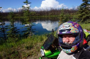 Selfie at a small lake in the burned out area between Dease Lake and Watson Lake.