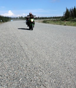 On day seven of our motorcycle trip to Alaska. we rode from Skagway to Beaver Creek in the Yukon Territory. Dave's photo of me on the Alaskan Highway near Kluane Lake.